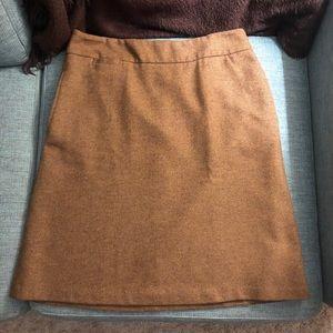 A-line wool blend herringbone skirt